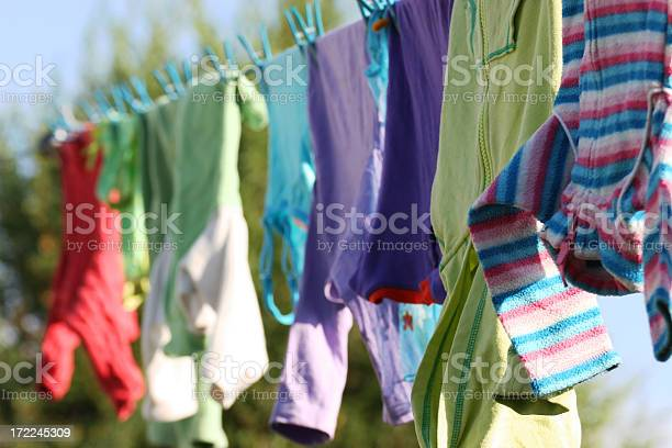 Kids clothes drying on a clothing line picture id172245309?b=1&k=6&m=172245309&s=612x612&h=m848pqa5vtk2 ktup2tmrnwenyn7lqg0a5pulhz92mu=