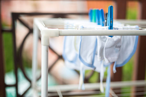Kids Clothes Drying stock photo