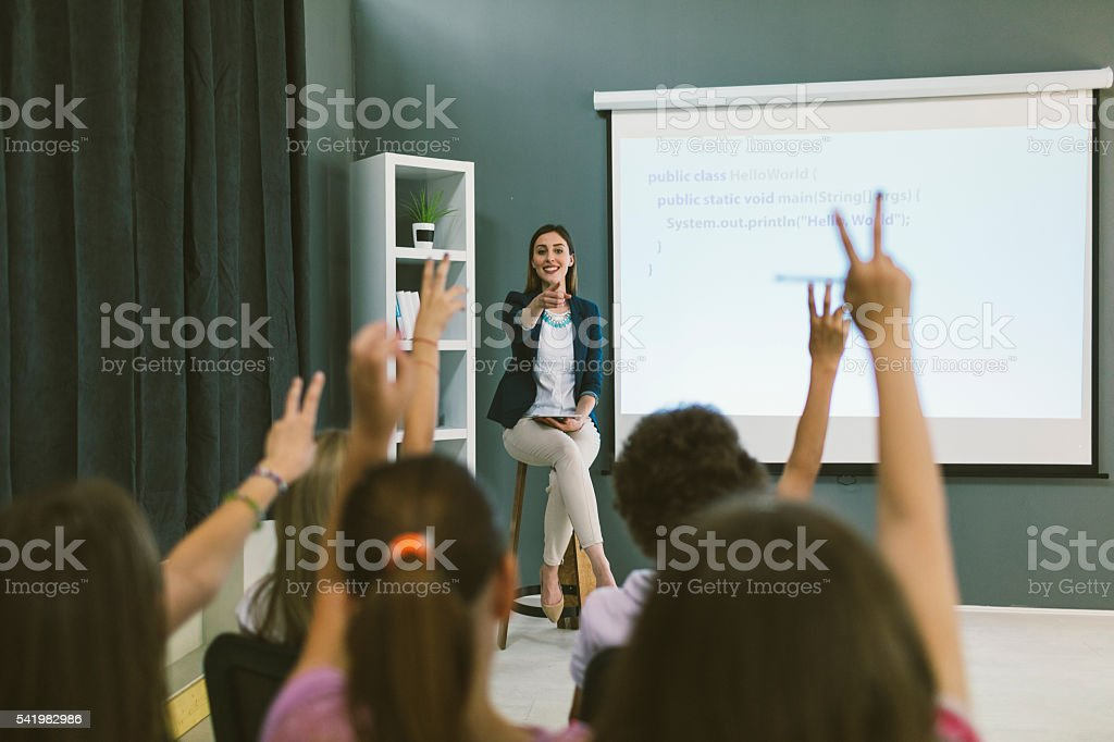 Kids Coding In School. stock photo