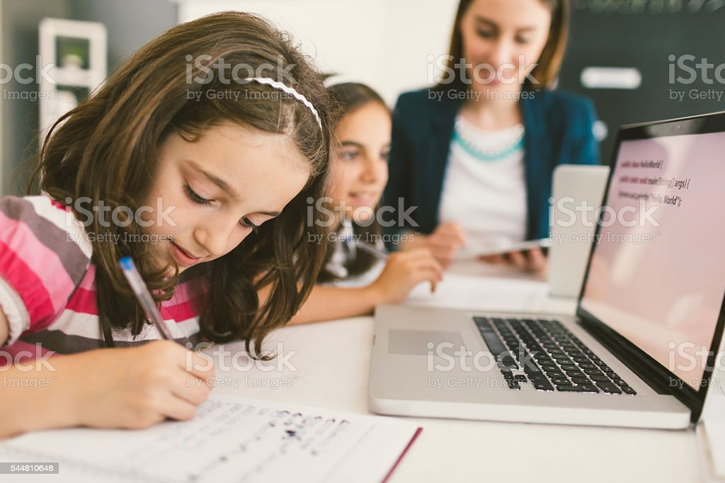 Kids Coding In School stock photo