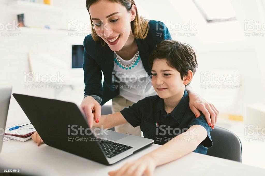 Kids Coding In School. stock photo