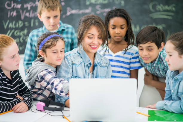 Kids Coding stock photo