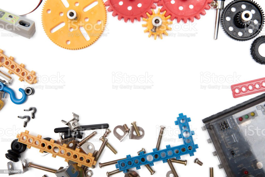 Kids construction toys tools , Colorful toy tools, construction on white background. Top view. stock photo