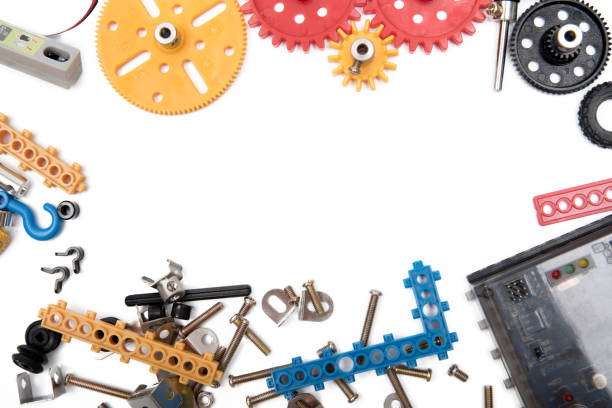 kids construction toys tools , colorful toy tools, construction on white background. top view. - plant stem stock pictures, royalty-free photos & images