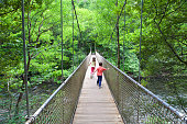 Kids crossing a wooden bridge over Eume river in Fragas do Eume natural park, Galicia