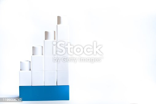 544818734 istock photo Kids development, Building blocks and construction. White and blue color blocks. 1199008742