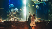 Photo of a two children, discovering underwater world in an aquarium // wide photo dimensions