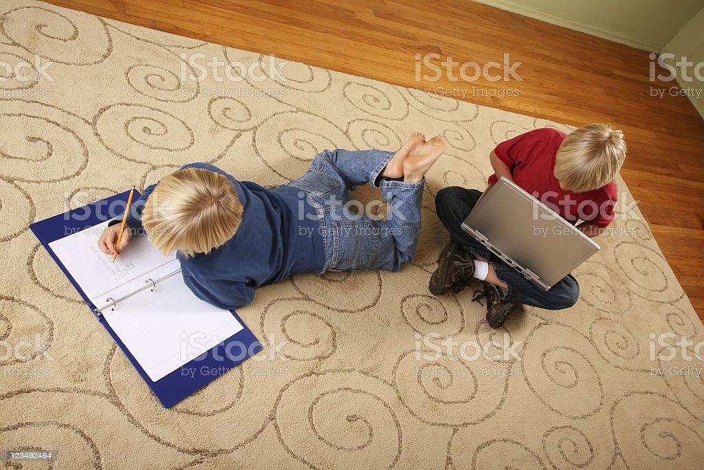 kids doing homework royalty-free stock photo