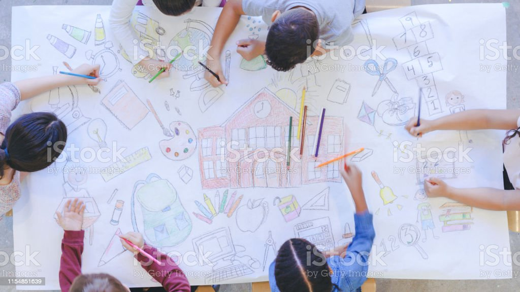 Aerial overhead view of multi-ethnic group of elementary age children...