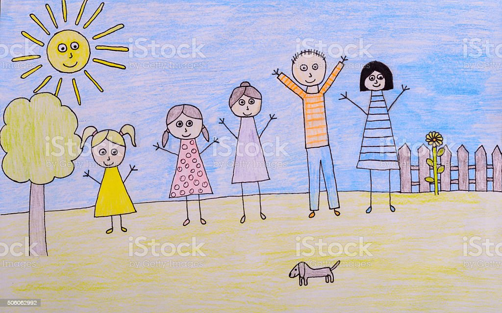 kids drawing happy family picture stock photo