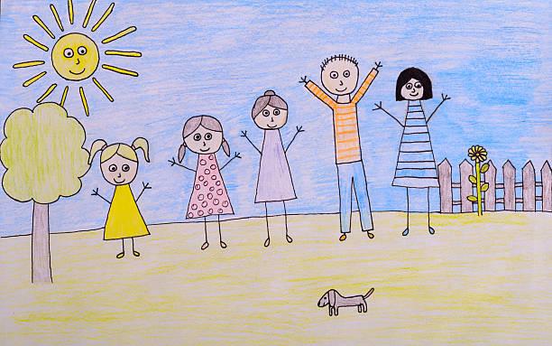 famiglia felice per bambini, disegno immagine - fumetto creazione artistica foto e immagini stock