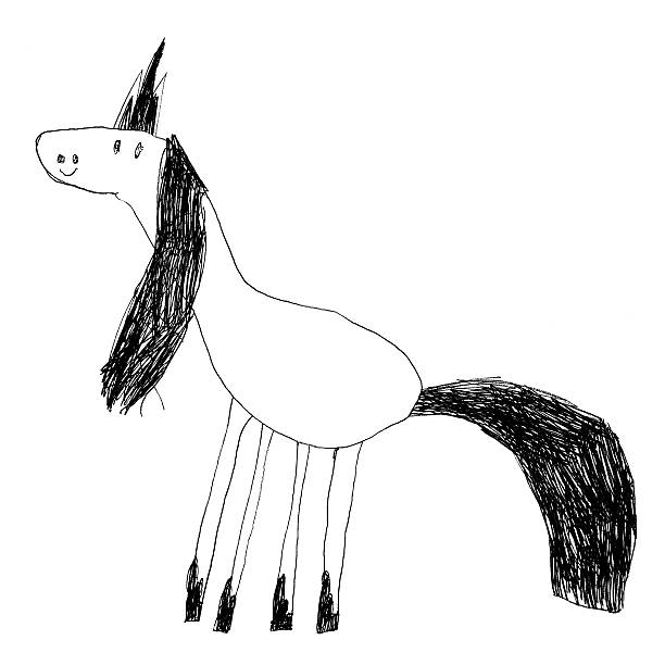 kids drawing of a cute magic unicorn. - animal doodle bildbanksfoton och bilder