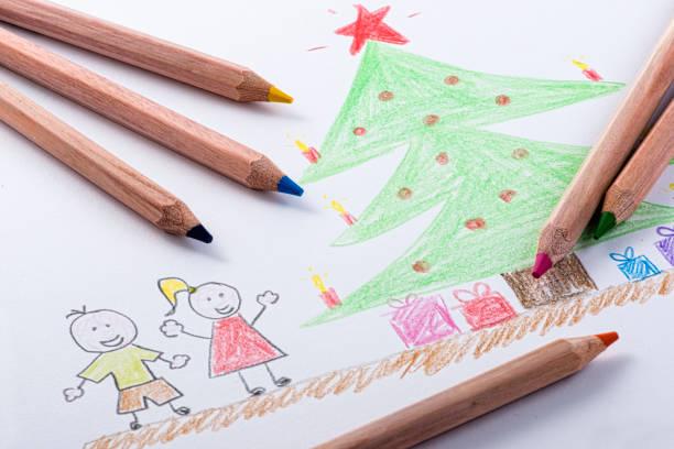 kinder zeichnung of christmas-englische redewendung - weihnachtsbilder zum ausmalen stock-fotos und bilder