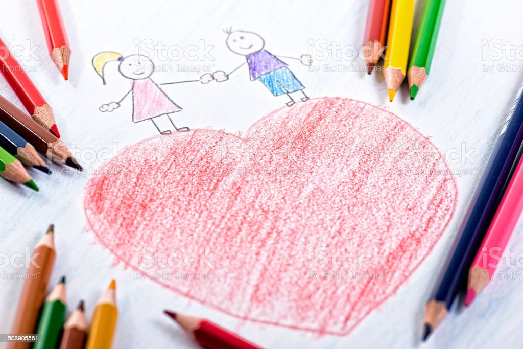 Valentine\'s Day drawing with colour pencils