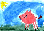 Kid's drawing - pig- made by child
