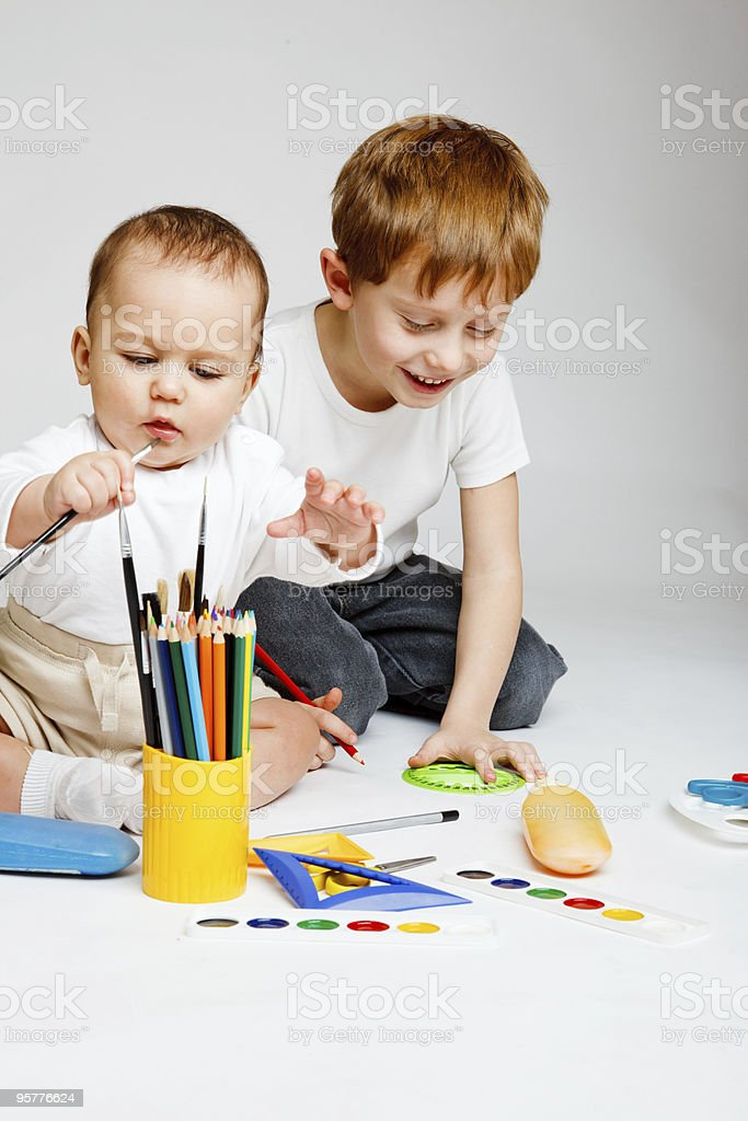 Kids drawing royalty-free stock photo