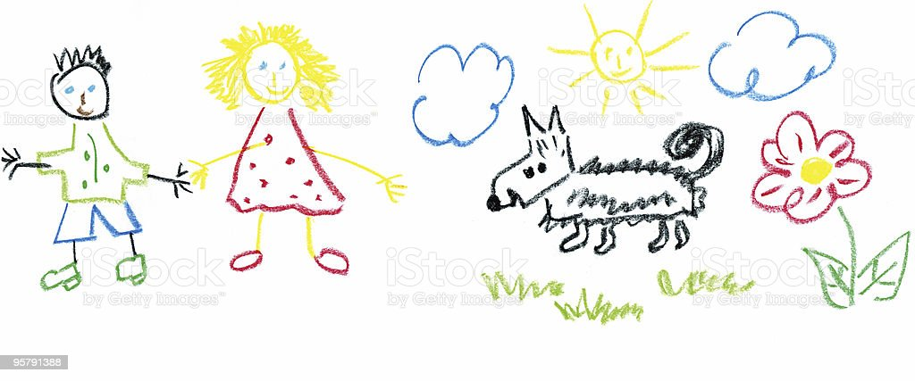 kids drawing stock photo