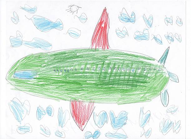 kids drawing sketch of a plane and train - gekritzel zeichnung stock-fotos und bilder