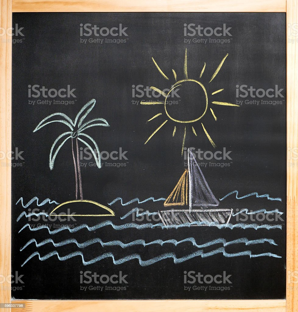 kids drawing sun palm island sailboat sea royalty-free stock photo