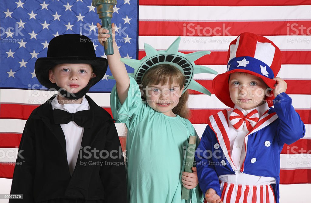 Kids dressed up in patriotic costumes stock photo
