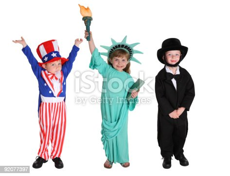 istock Kids dressed up like Patriotic characters 92077397