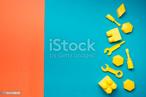 istock Kids educational developing toys frame on white background. Top view. Flat lay. Copy space for text 1133459639