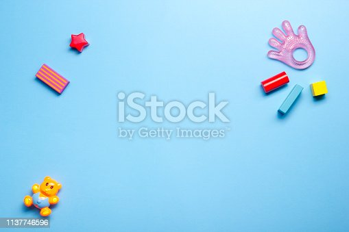 istock Kids educational developing toys frame on white background. Top view. Flat lay. Copy space for text 1137746596