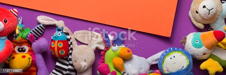 istock Kids educational developing toys frame on white background. Top view. Flat lay. Copy space for text 1137746607