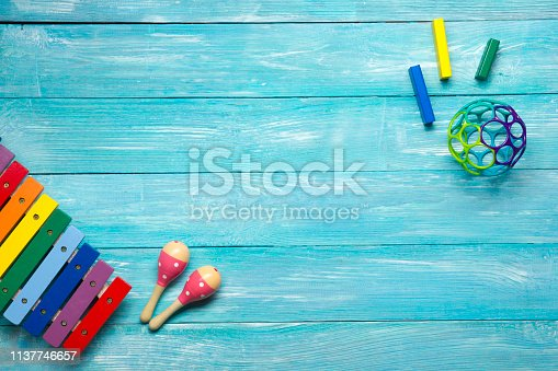 istock Kids educational developing toys frame on white background. Top view. Flat lay. Copy space for text 1137746657