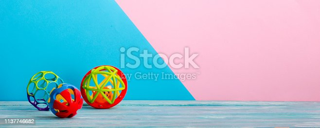 istock Kids educational developing toys frame on white background. Top view. Flat lay. Copy space for text 1137746682