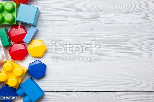 istock Kids educational developing toys frame on white background. Top view. Flat lay. Copy space for text 926219410