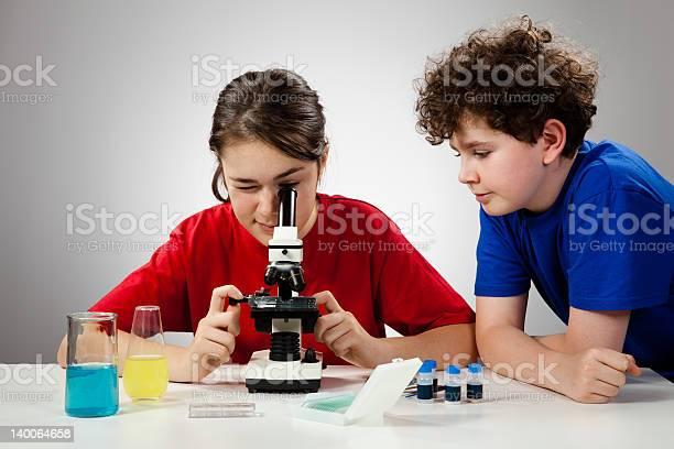 Kids Examining Something Under Microscope Stock Photo - Download Image Now