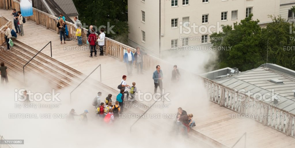 Kids finding the way out of fog stock photo