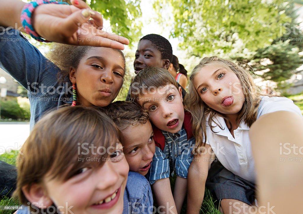 Kids fisheye selfie royaltyfri bildbanksbilder