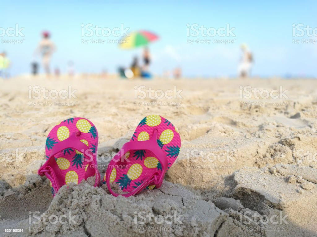 183c406c79486a Kids Flip Flops On The Beach Stock Photo   More Pictures of Arts ...