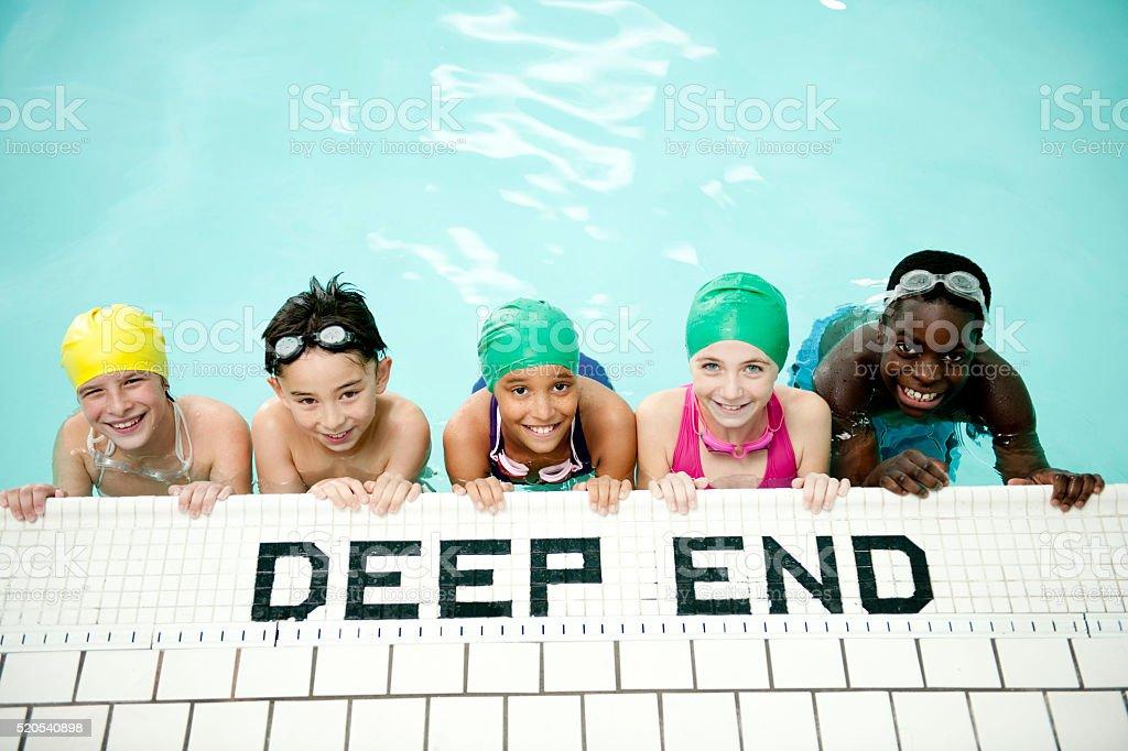Kids Getting Ready for Swimming Lessons stok fotoğrafı