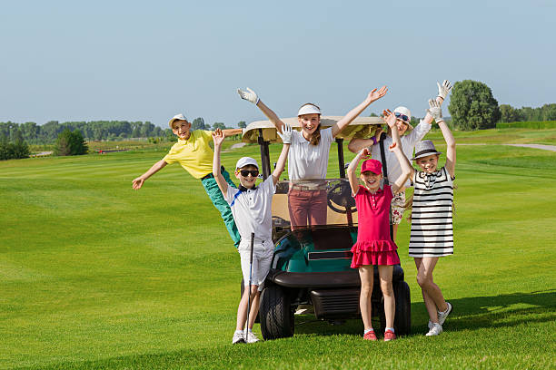 Kids golf competition stock photo