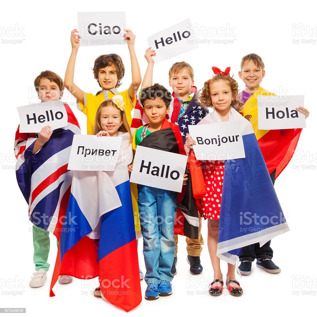 Kids Greeting Each Other In Different Languages Stock Photo More