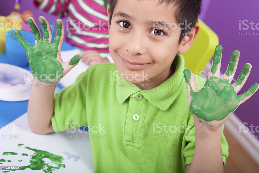 Kids hand painting royalty-free stock photo