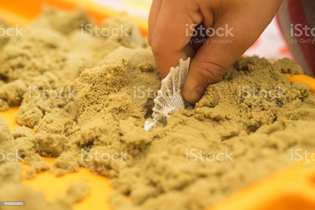 Kid's hand putting dinosaur rubber figure in the sand box stock photo