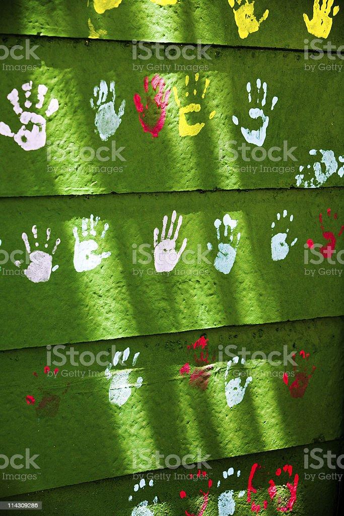 Kids' handprints royalty-free stock photo