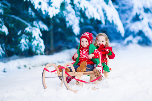 istock Kids having fun on a sleigh ride in winter 494592136