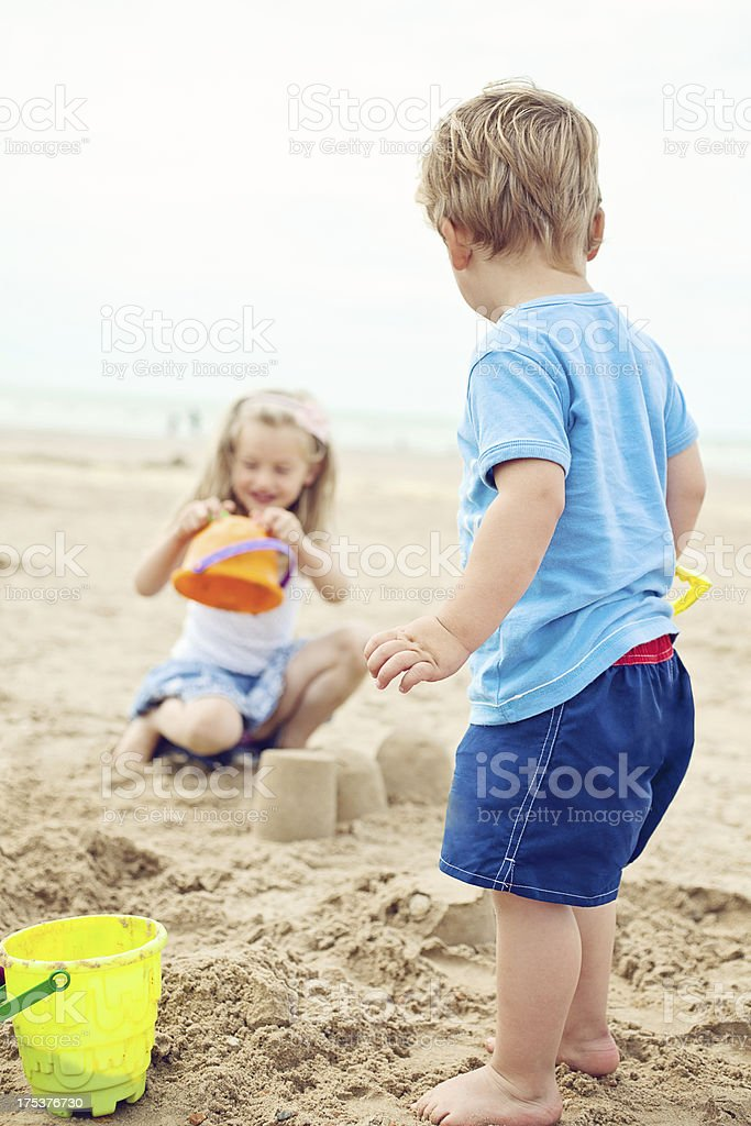 Kids Having Fun on Beach royalty-free stock photo