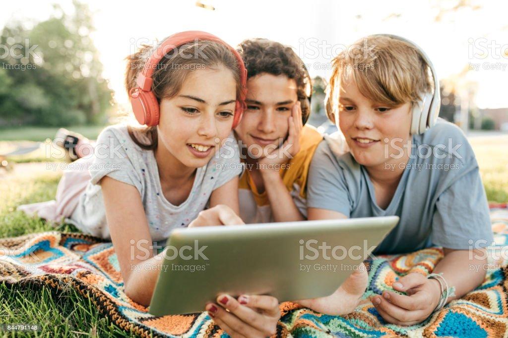 Kids having fun stock photo