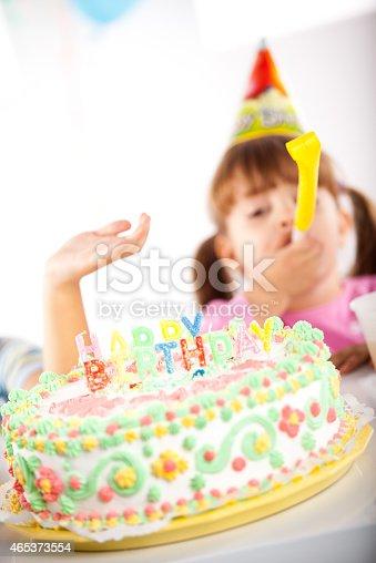 502282224 istock photo Kids having fun while celebrating birthday 465373554