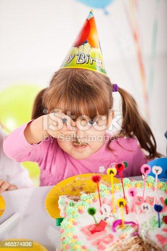 502282224 istock photo Kids having fun while celebrating birthday 465374936