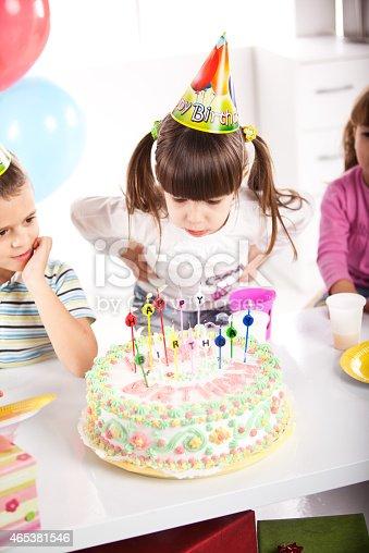 502282224 istock photo Kids having fun while celebrating birthday 465381546