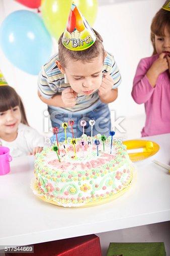 502282224 istock photo Kids having fun while celebrating birthday 517344669
