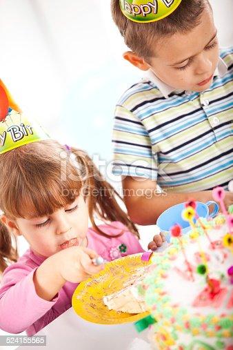 502282224 istock photo Kids having fun while celebrating birthday 524155565