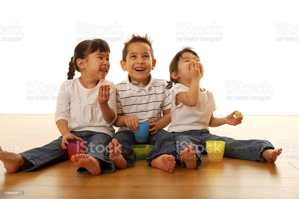 Kids having snacks time royalty-free stock photo